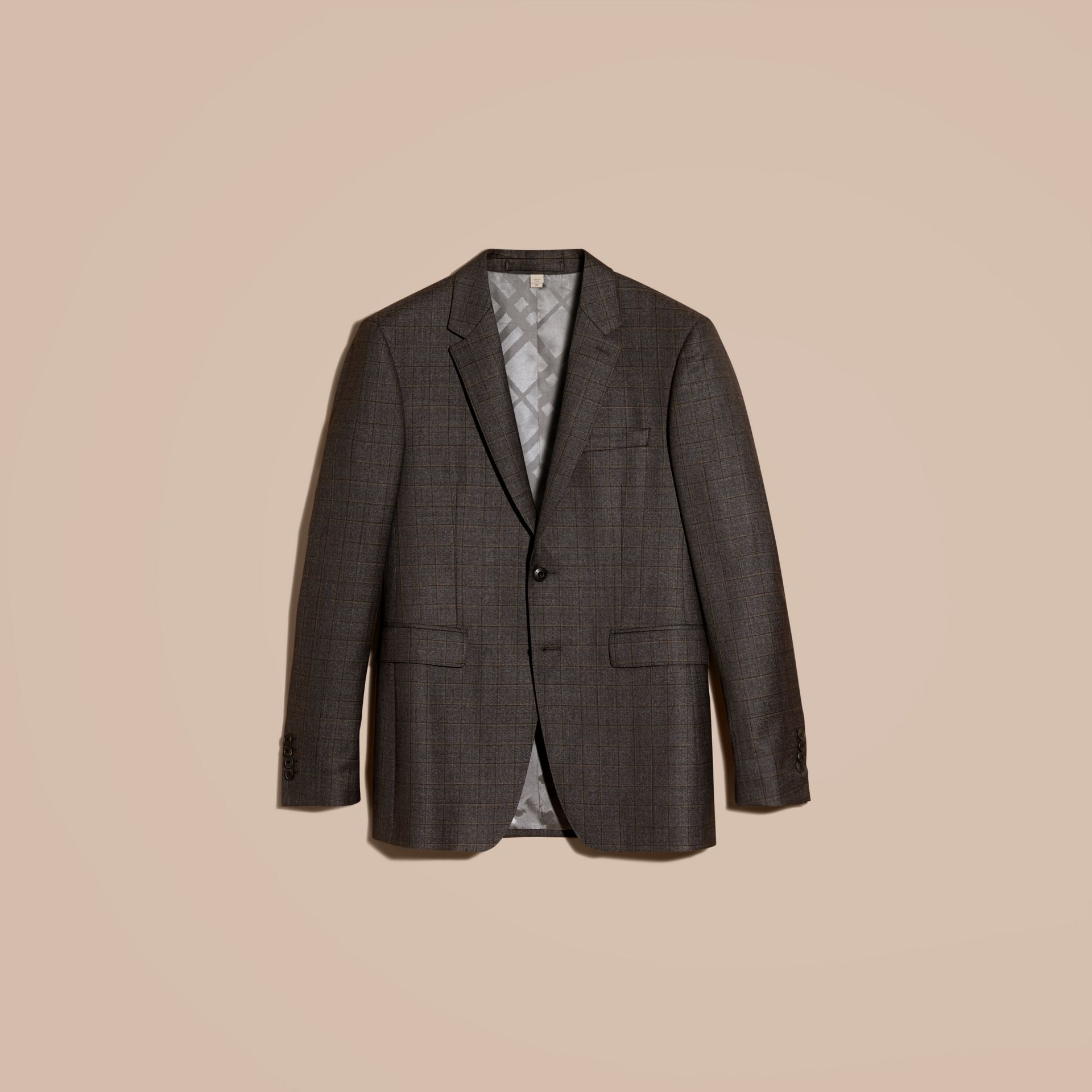 Dark grey melange Modern Fit Check Wool Part-canvas Suit - gallery image 4
