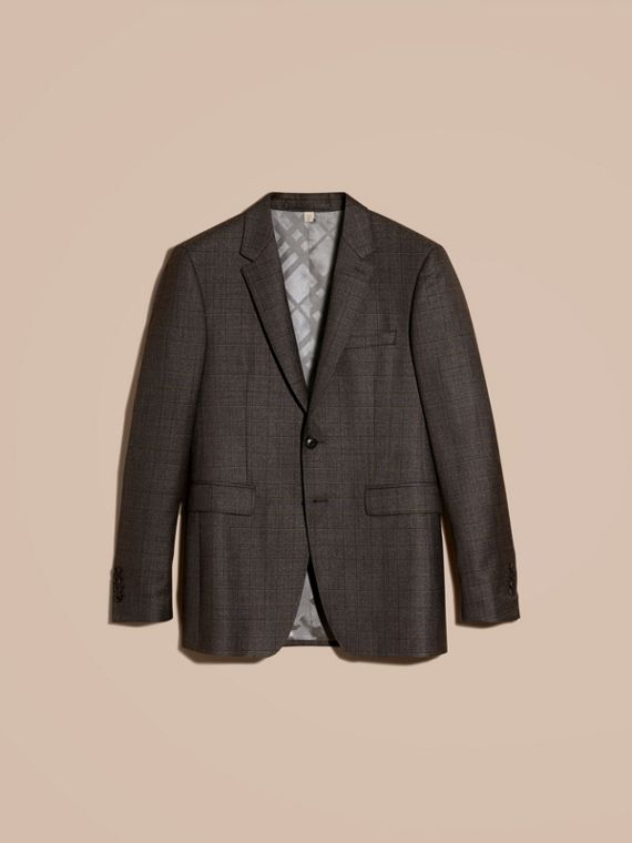 Dark grey melange Modern Fit Check Wool Part-canvas Suit - cell image 3