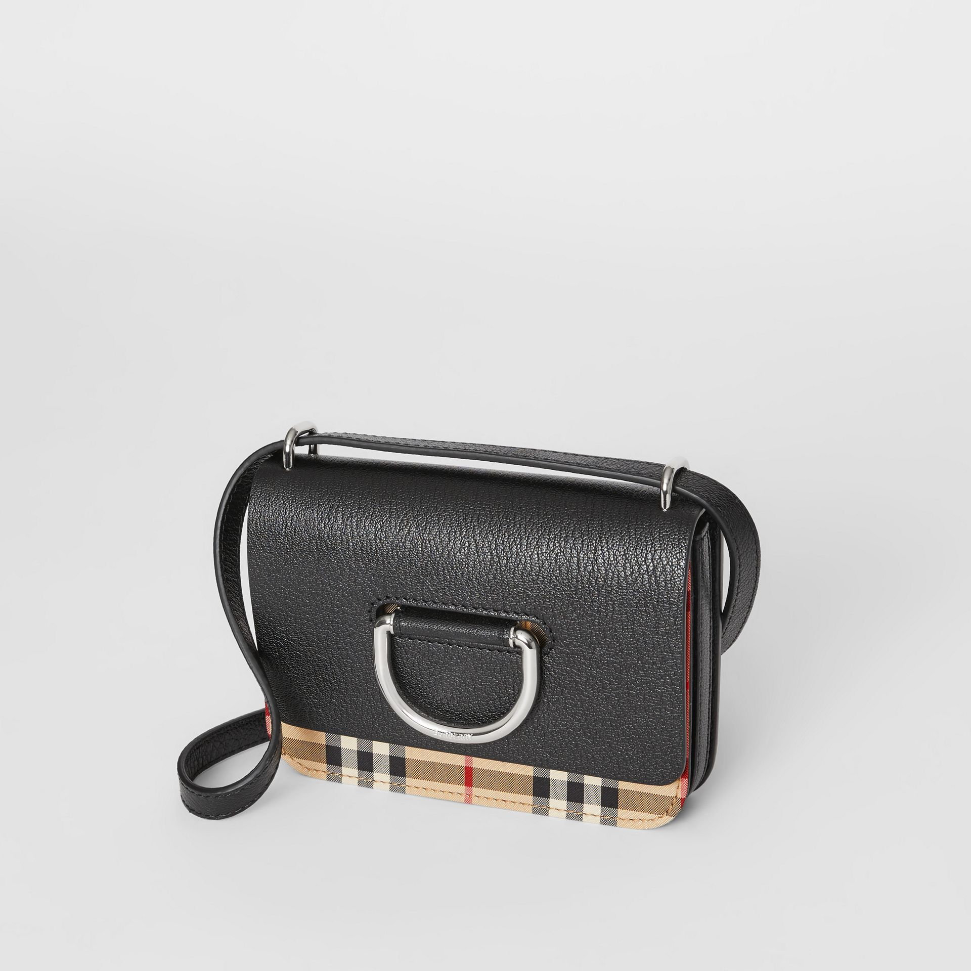 The Mini Vintage Check and Leather D-ring Bag in Black - Women | Burberry United Kingdom - gallery image 3