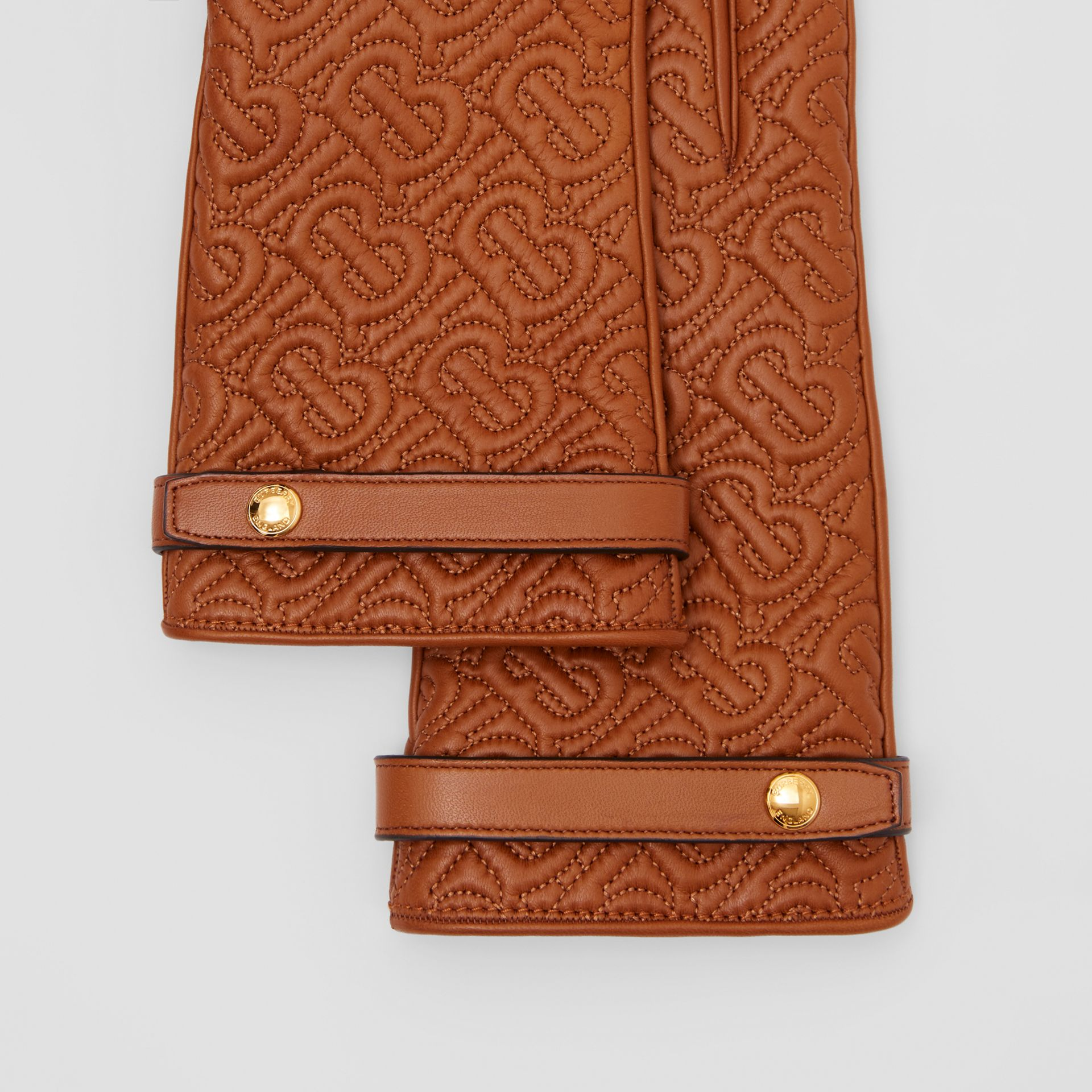 Cashmere-lined Quilted Monogram Lambskin Gloves in Brown | Burberry - gallery image 1