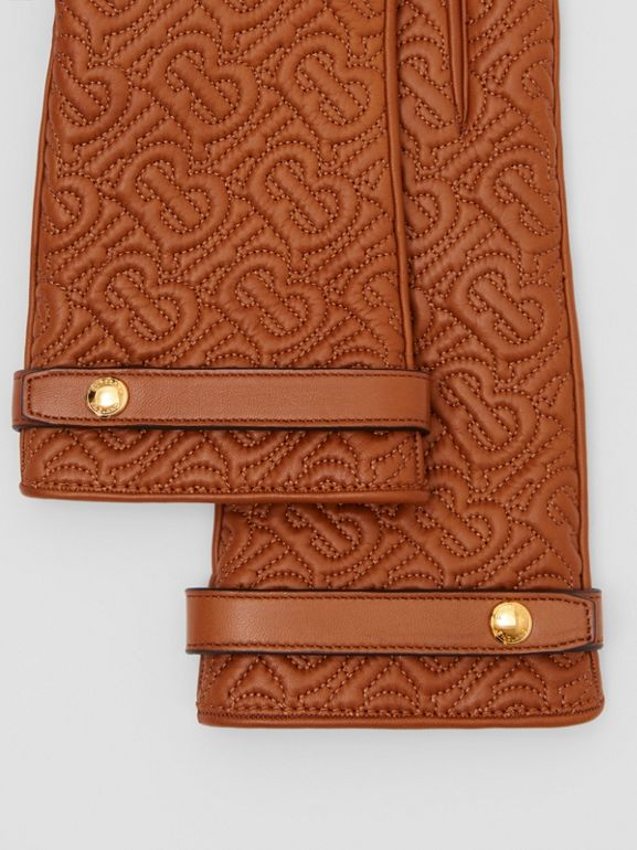Cashmere-lined Quilted Monogram Lambskin Gloves in Brown | Burberry - cell image 1