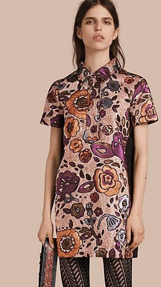Robe chemise à motif floral tissé en jacquard lamé