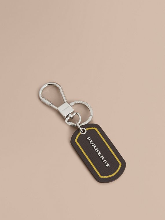 Border Detail London Leather Key Charm