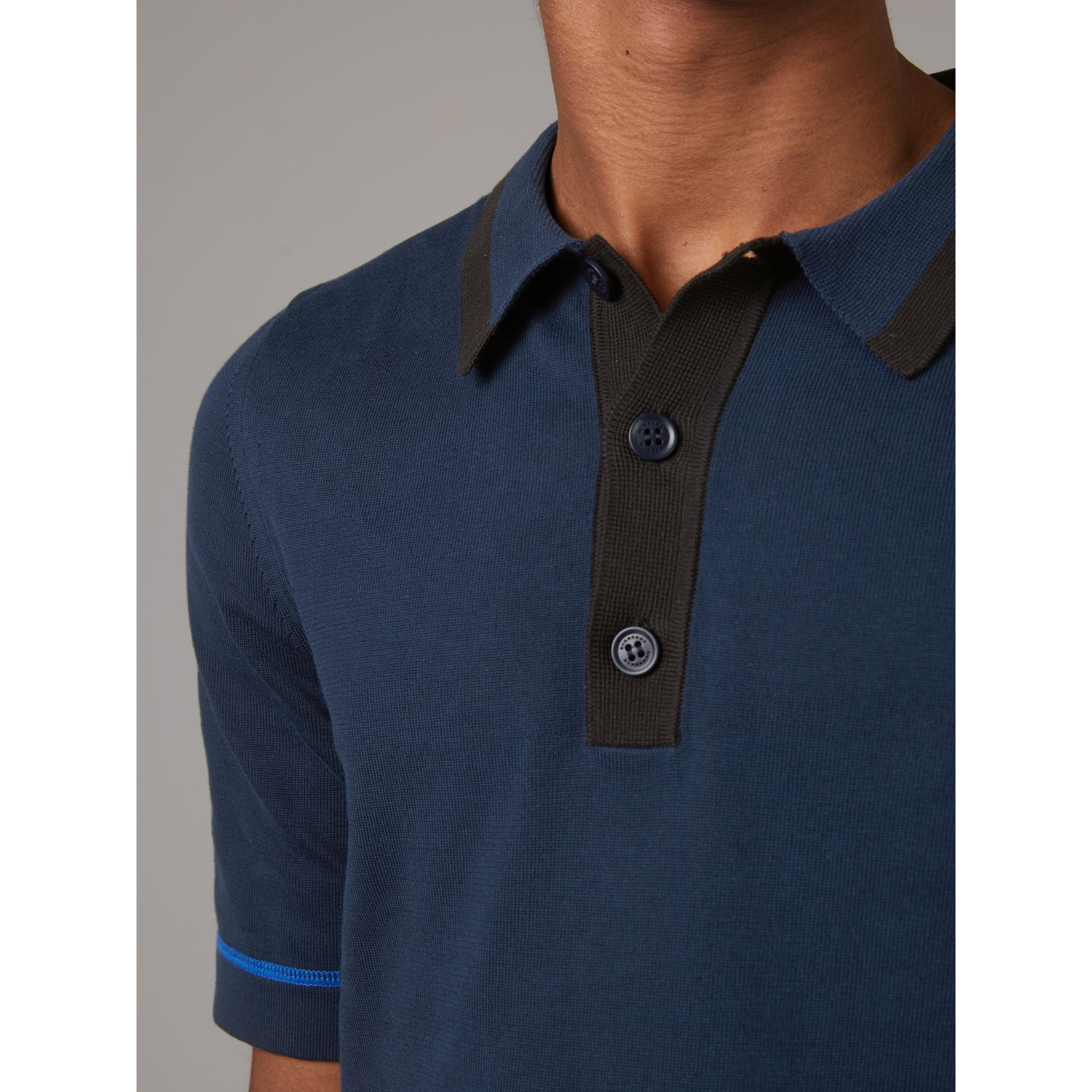 Tipped Cotton Jersey Polo Shirt in Navy Blue - Men | Burberry - gallery image 1