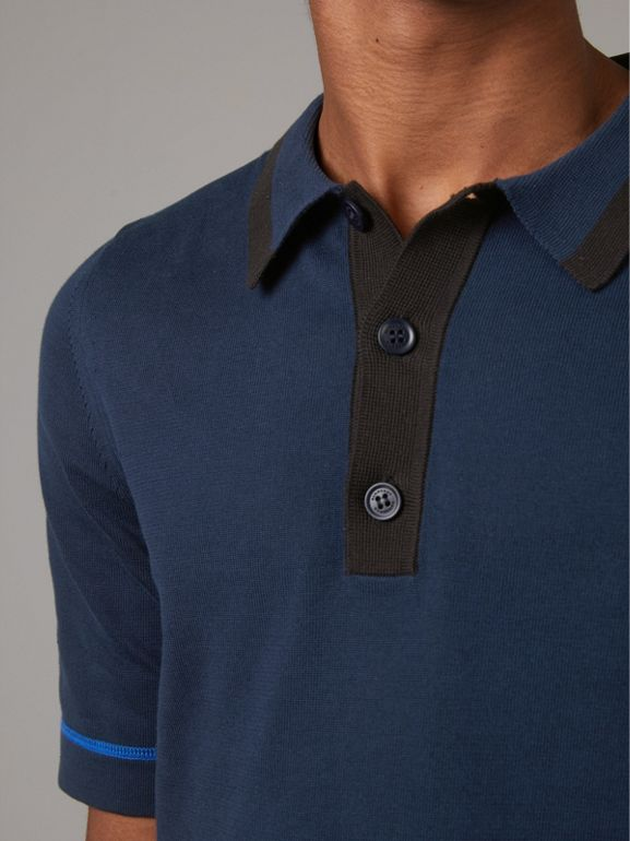 Tipped Cotton Jersey Polo Shirt in Navy Blue - Men | Burberry United Kingdom - cell image 1
