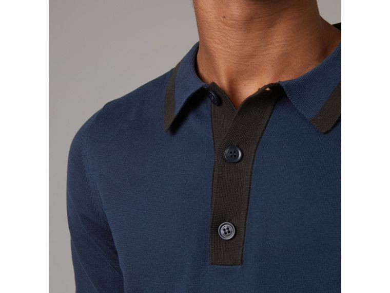 Tipped Cotton Jersey Polo Shirt in Navy Blue - Men | Burberry - cell image 1