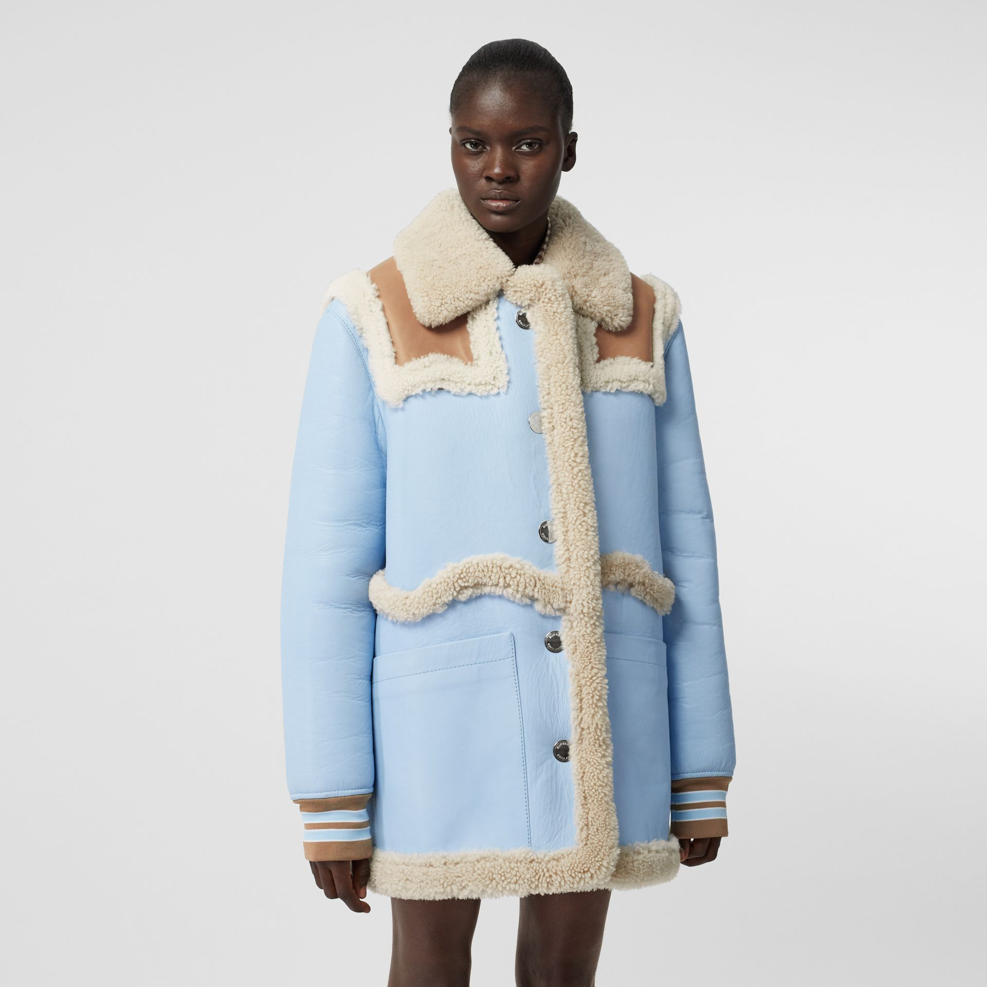 Two-tone Leather and Shearling Coat in Baby Blue - Women | Burberry - gallery image 6