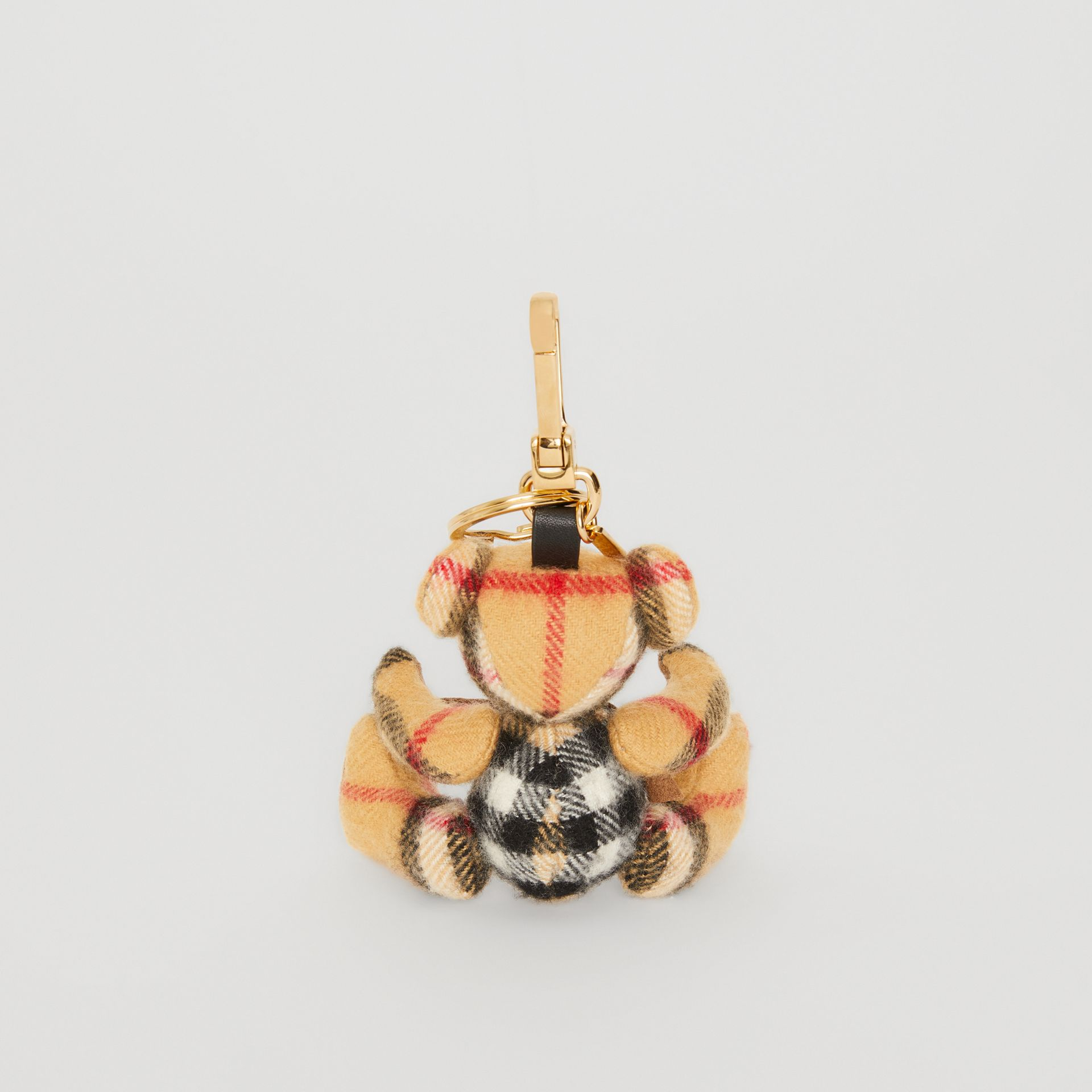 Bijou porte-clés Thomas Bear en cachemire à motif Vintage check (Jaune Antique) | Burberry - photo de la galerie 4