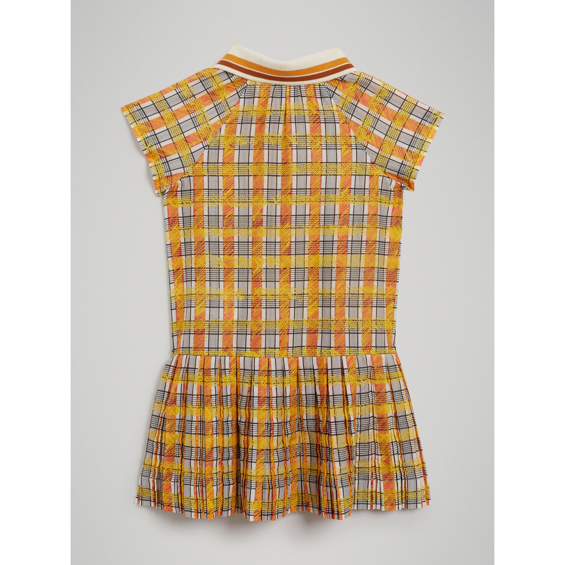 Scribble Check Collared Day Dress in Bright Yellow - Girl | Burberry - gallery image 3