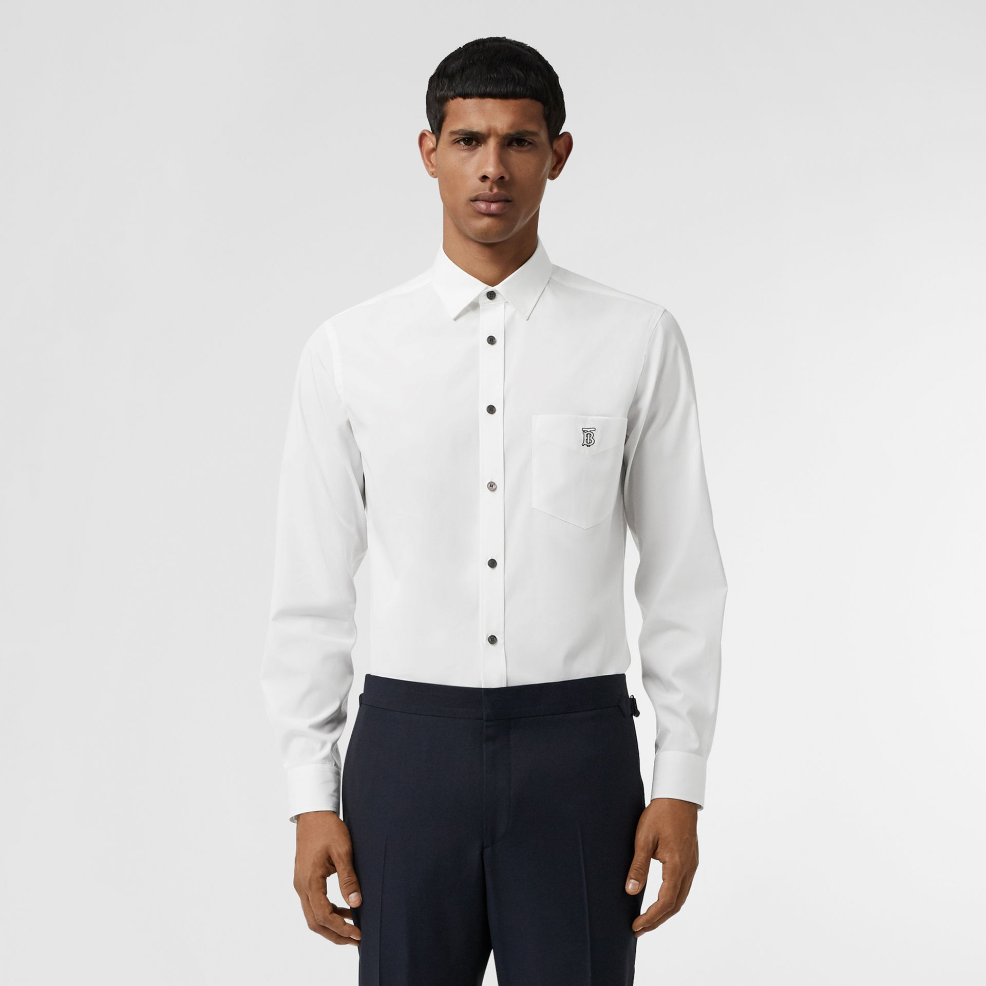 Monogram Motif Stretch Cotton Poplin Shirt in White - Men | Burberry - gallery image 0