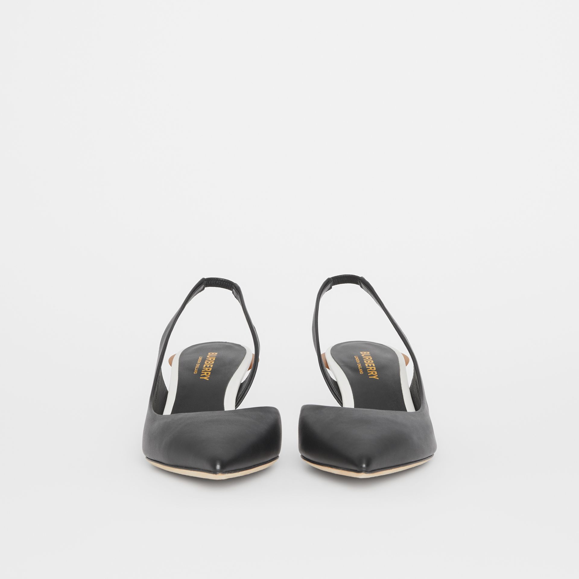 Leather Slingback Pumps in Black - Women | Burberry - gallery image 2