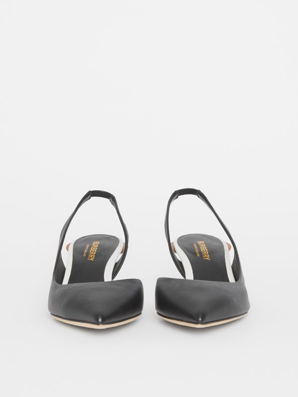 Leather Slingback Pumps in Black - Women | Burberry Singapore - cell image 2