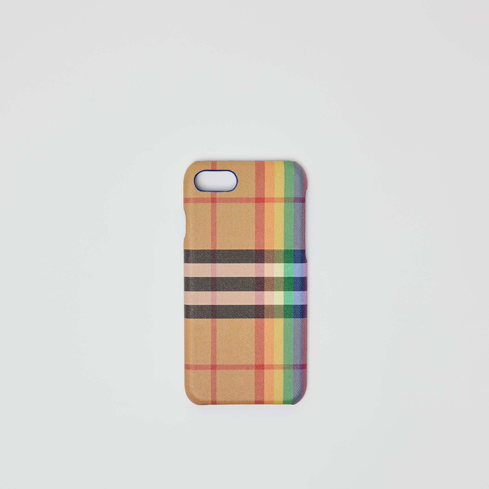 Rainbow Vintage Check and Leather iPhone 8 Case in Multicolour/antique Yellow | Burberry Singapore - gallery image 0