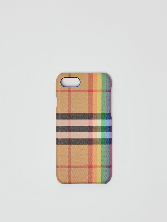 Custodia per iPhone 8 in pelle e motivo Rainbow vintage check (Multicolore/giallo Antico)