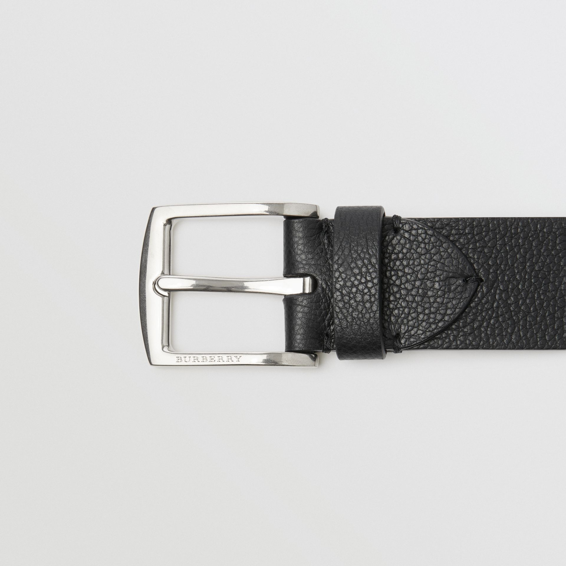 Grainy Leather Belt in Black - Men | Burberry - gallery image 1
