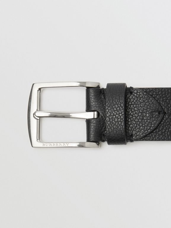 Grainy Leather Belt in Black - Men | Burberry United States - cell image 1