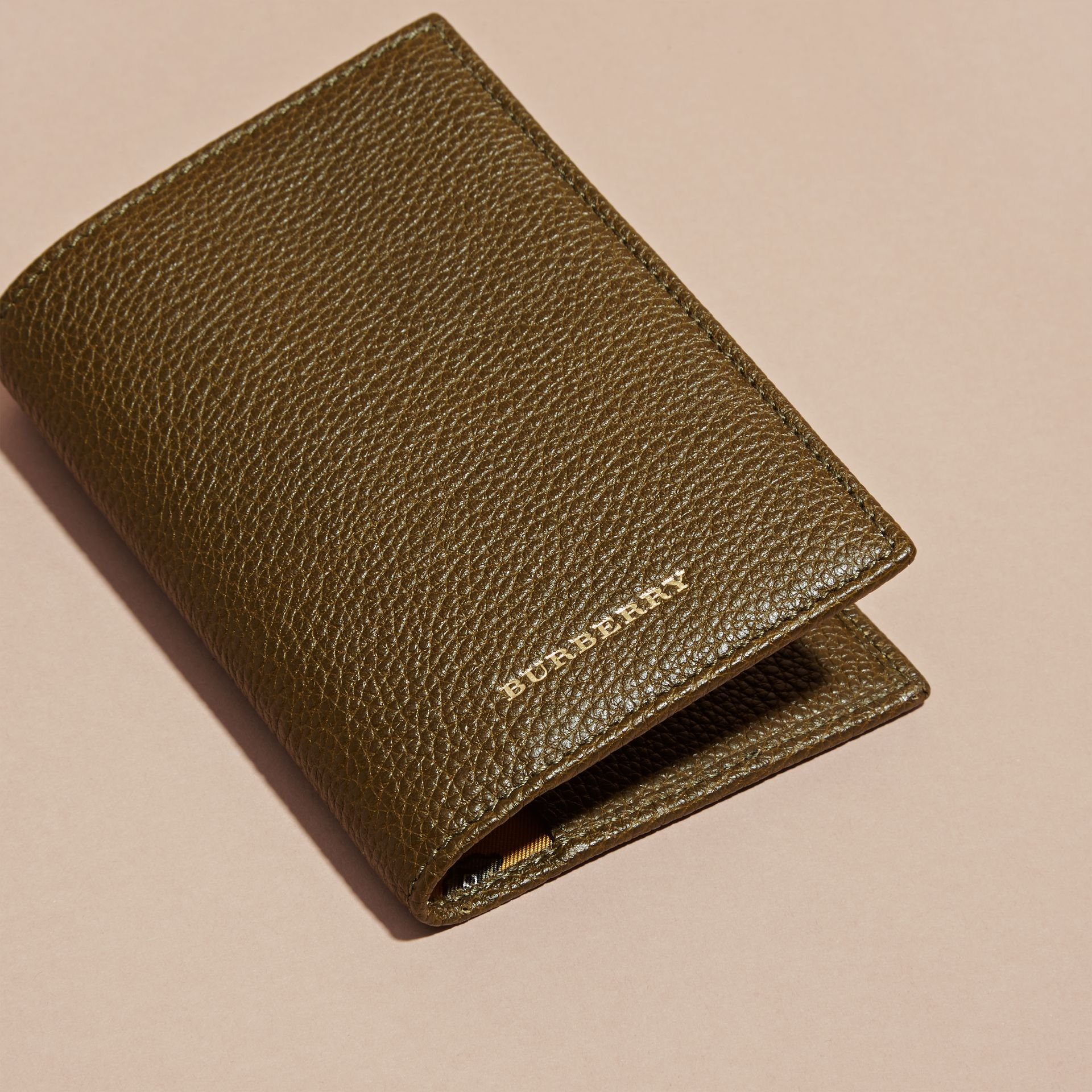 Olive Grainy Leather Passport and Card Holder Olive - gallery image 3