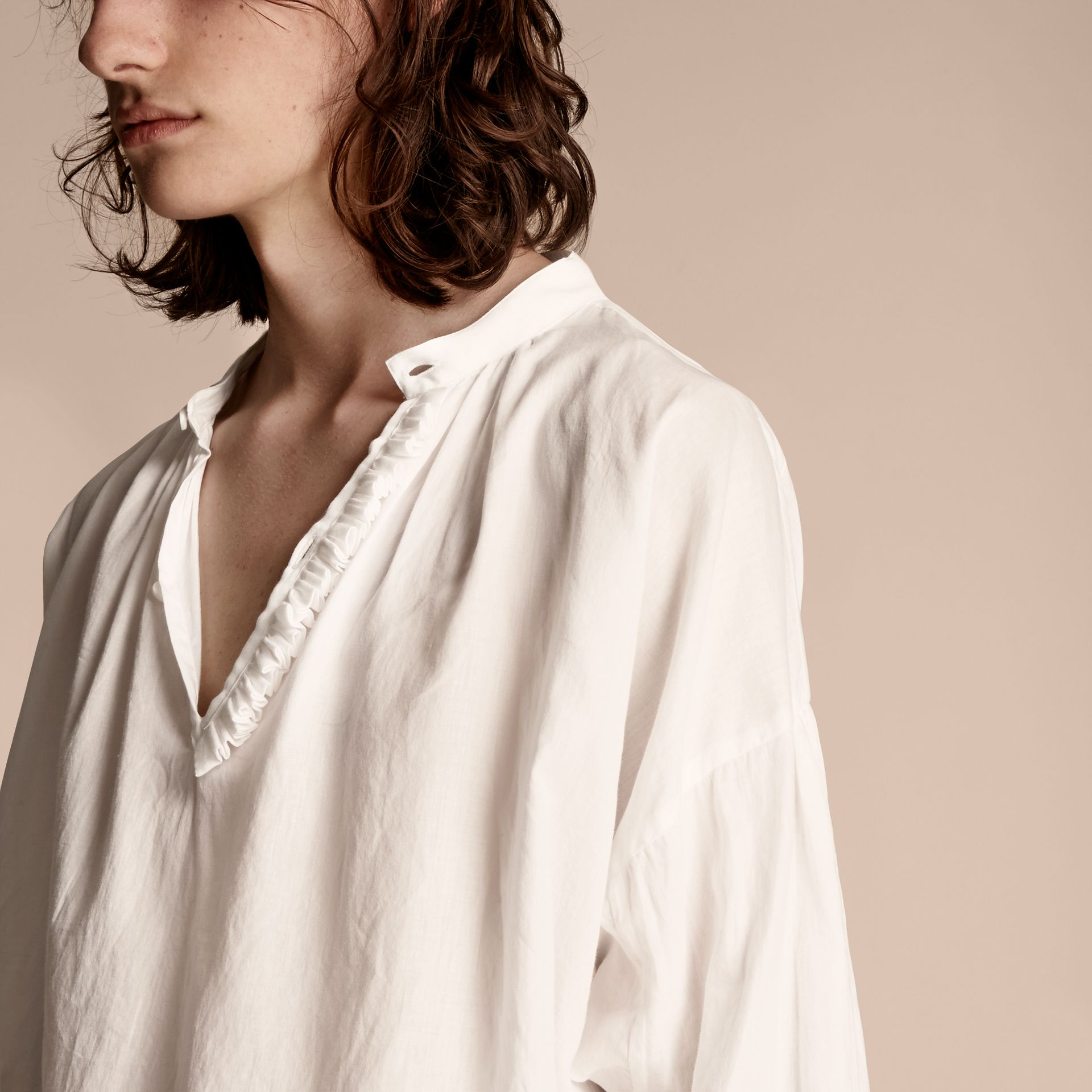 White Ruffle Detail Cotton Voile Tunic - gallery image 5