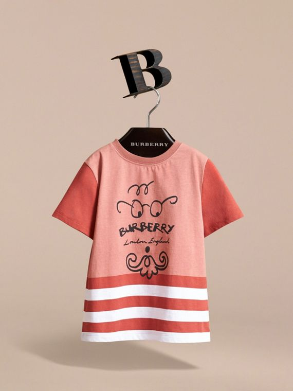 Bearded Gent Print Striped Cotton T-shirt in Pale Cinnamon - Boy | Burberry - cell image 2