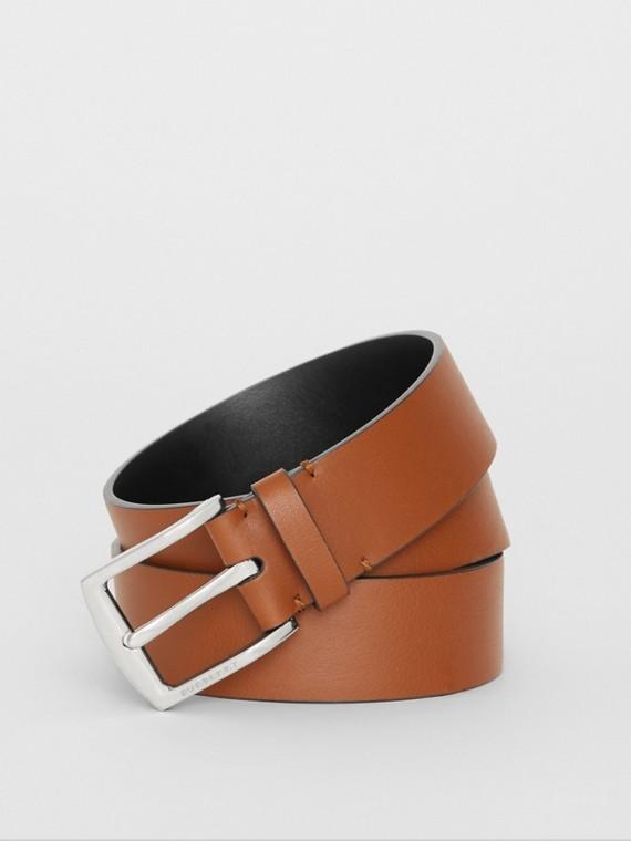Embossed Crest Leather Belt in Chestnut Brown