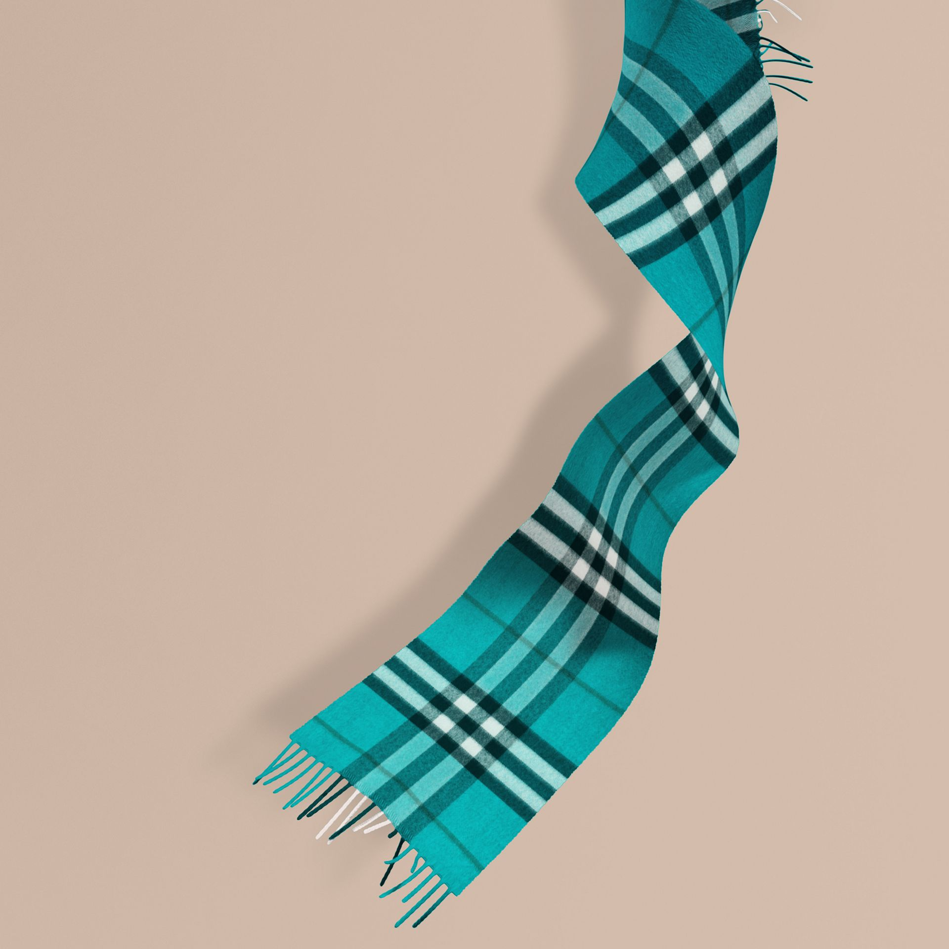 Dark aqua The Mini Classic Cashmere Scarf in Check Dark Aqua - gallery image 1