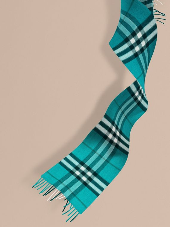 The Mini Classic Cashmere Scarf in Check in Dark Aqua | Burberry