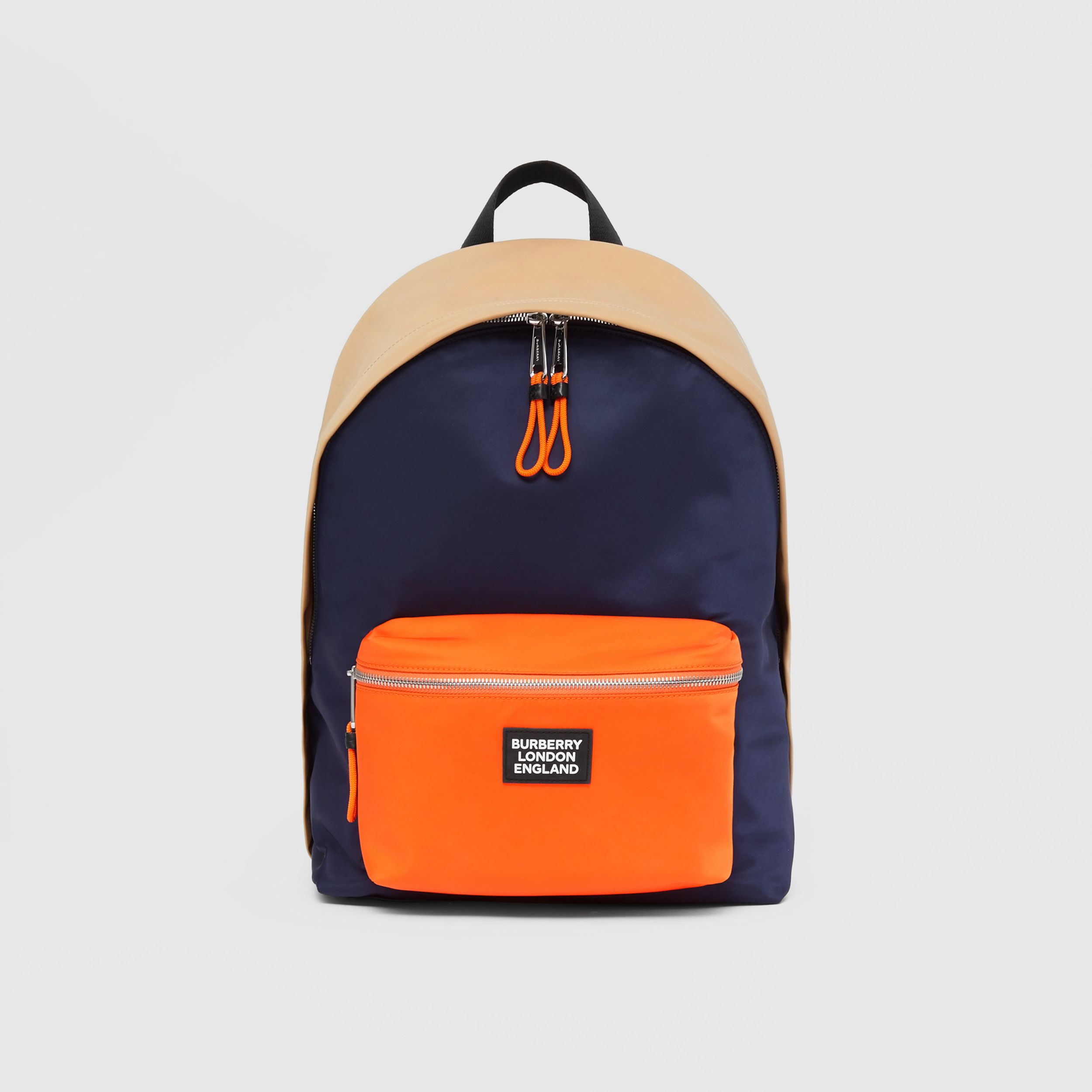 Colour Block ECONYL® Backpack in Regency Blue/bright Orange - Men | Burberry - 1