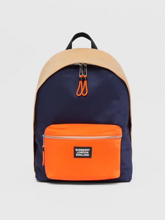 Colour Block ECONYL® Backpack in Regency Blue/bright Orange