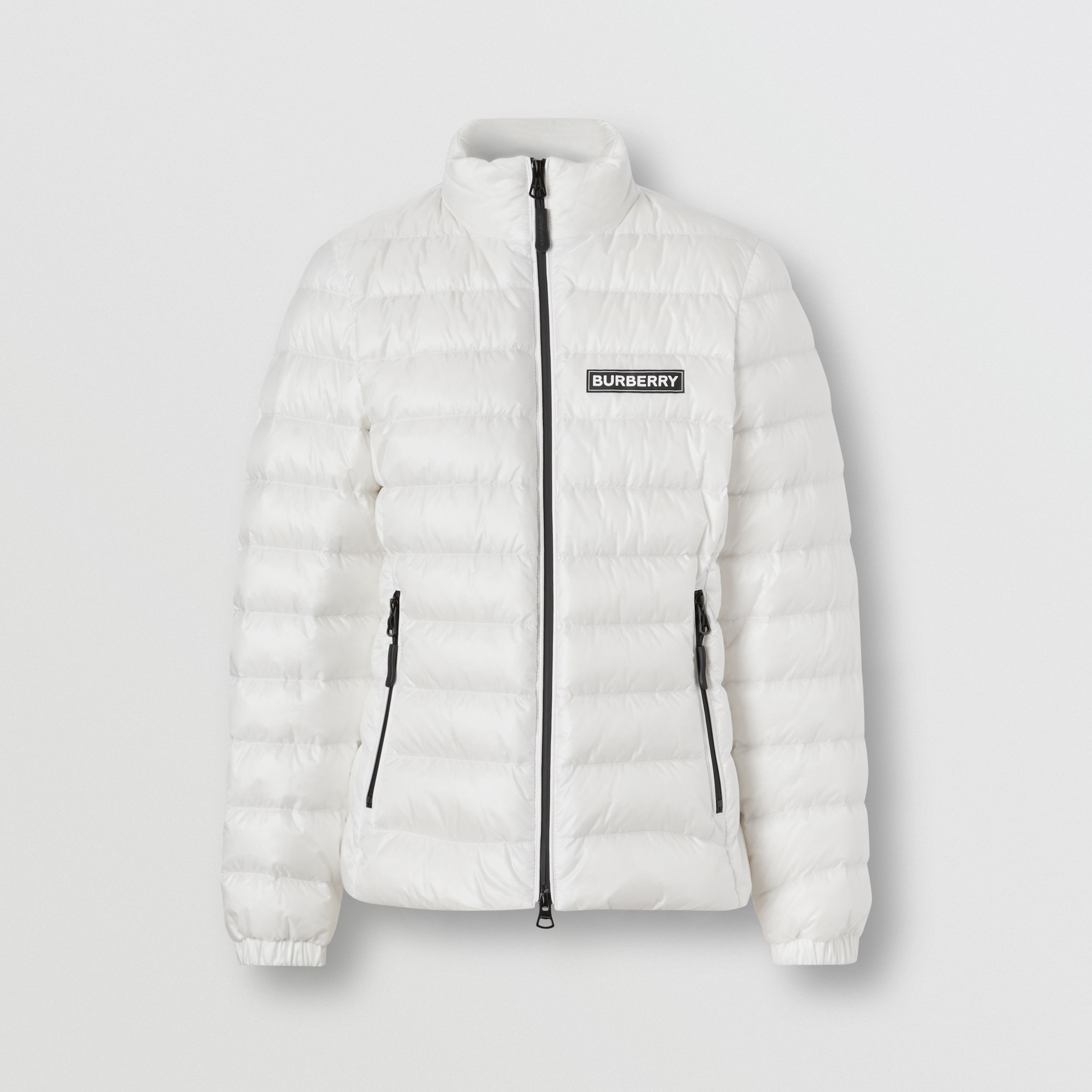 Logo Print Lightweight Puffer Jacket in White - Women | Burberry - 4