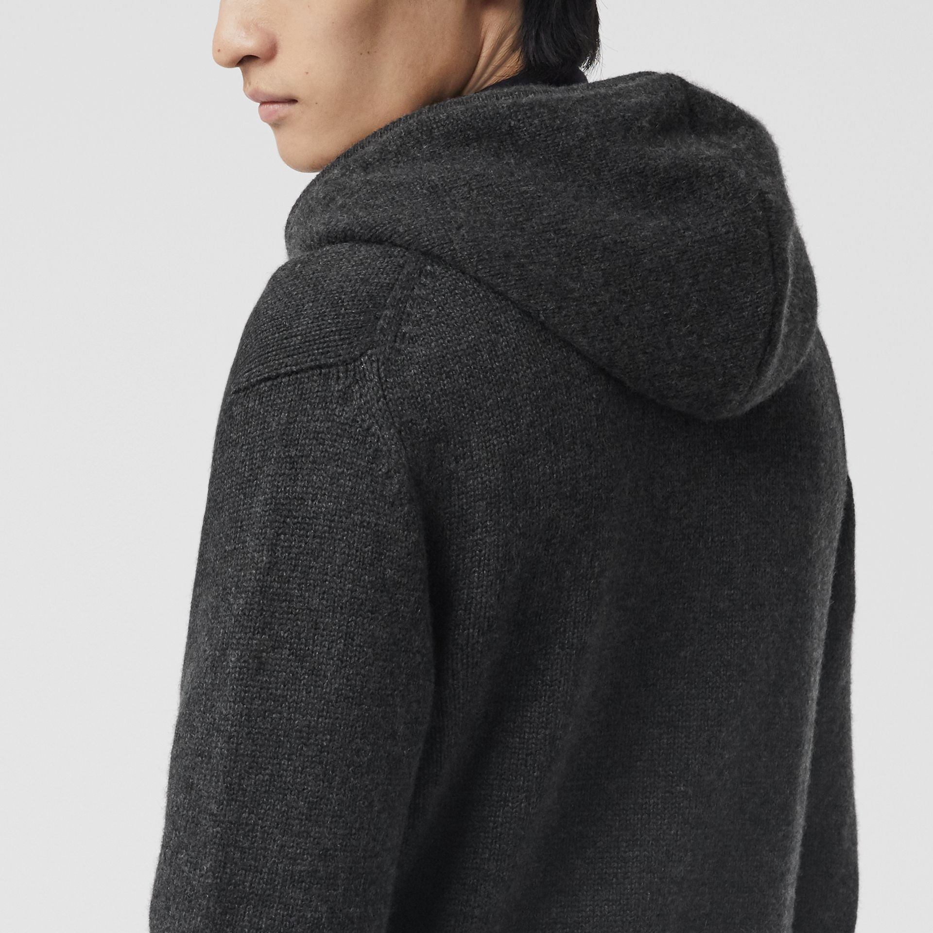 Cashmere Hooded Top in Charcoal Melange - Men | Burberry - gallery image 1