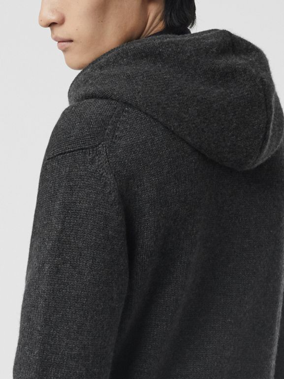 Cashmere Hooded Top in Charcoal Melange - Men | Burberry - cell image 1