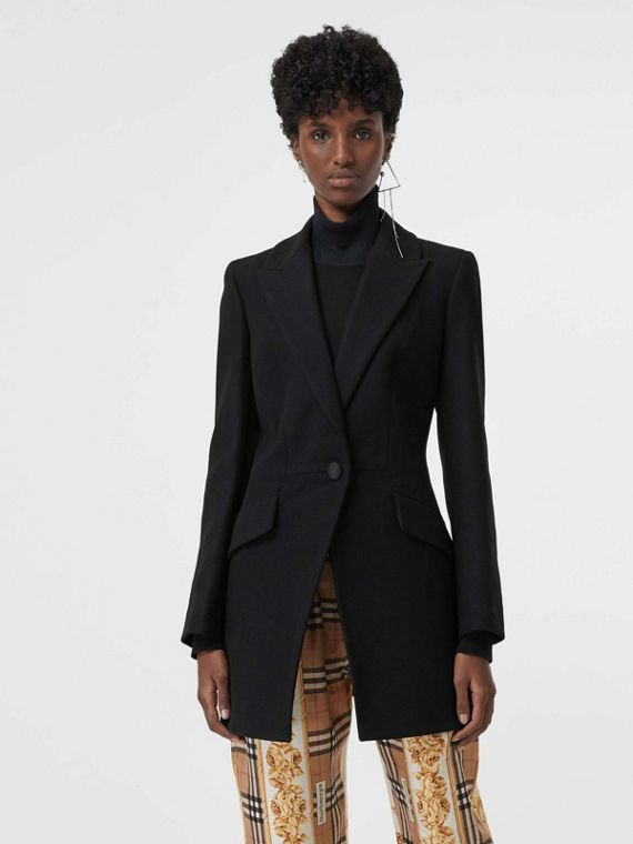 Herringbone Wool Cashmere Blend Tailored Jacket in Black
