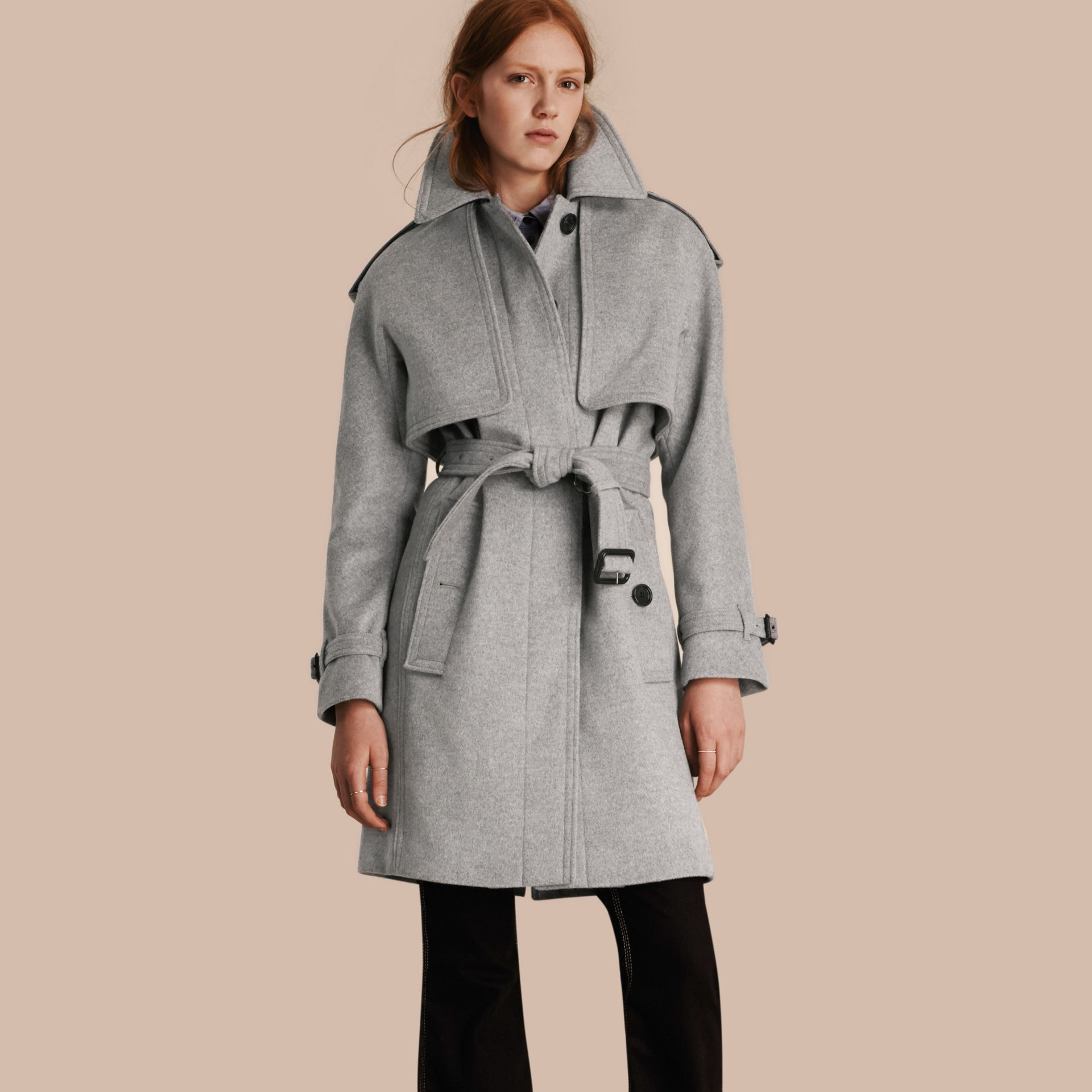 Pale grey melange Wool Cashmere Trench Coat with Oversize Detailing - gallery image 1