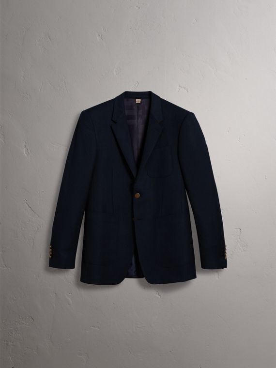 Modern Fit Tailored Wool Half-canvas Jacket in Navy - Men | Burberry Singapore - cell image 2