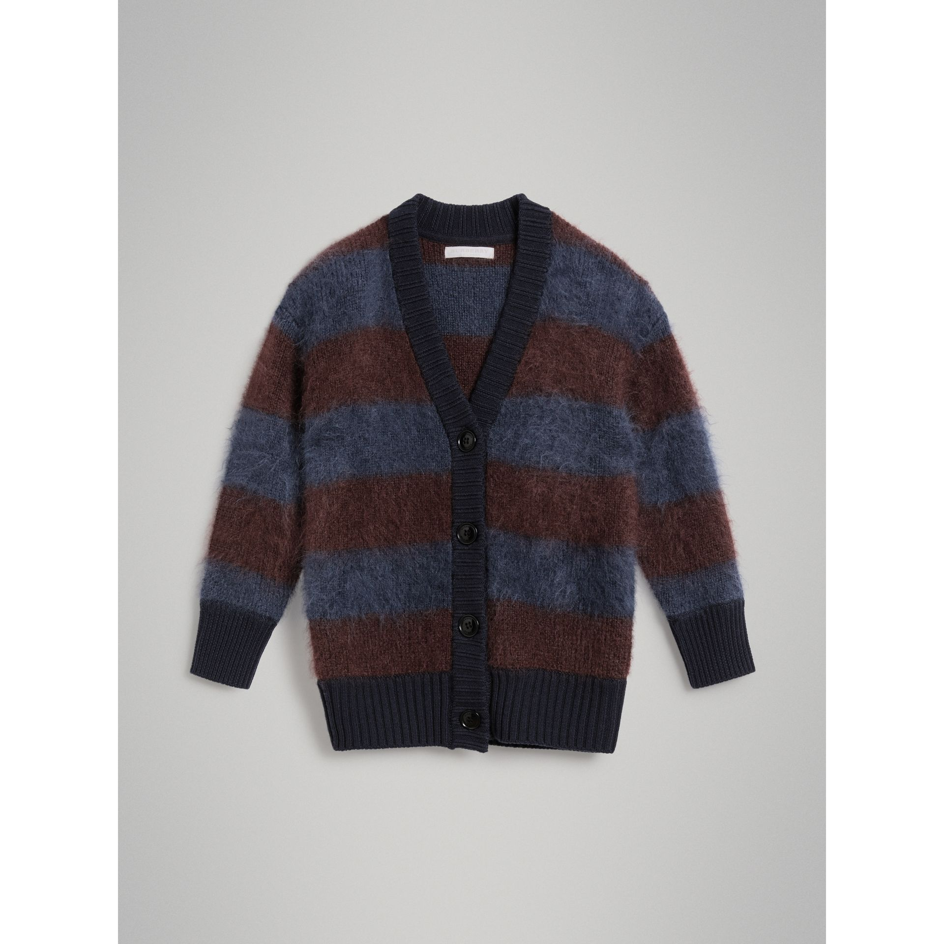 Tri-tone Striped Mohair Blend Cardigan in Burgundy - Girl | Burberry - gallery image 0