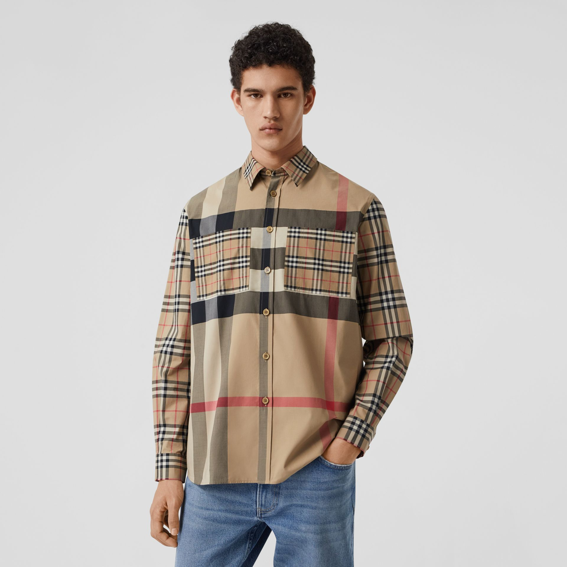 Patchwork Check Stretch Cotton Oversized Shirt in Archive Beige - Men | Burberry United Kingdom - gallery image 6