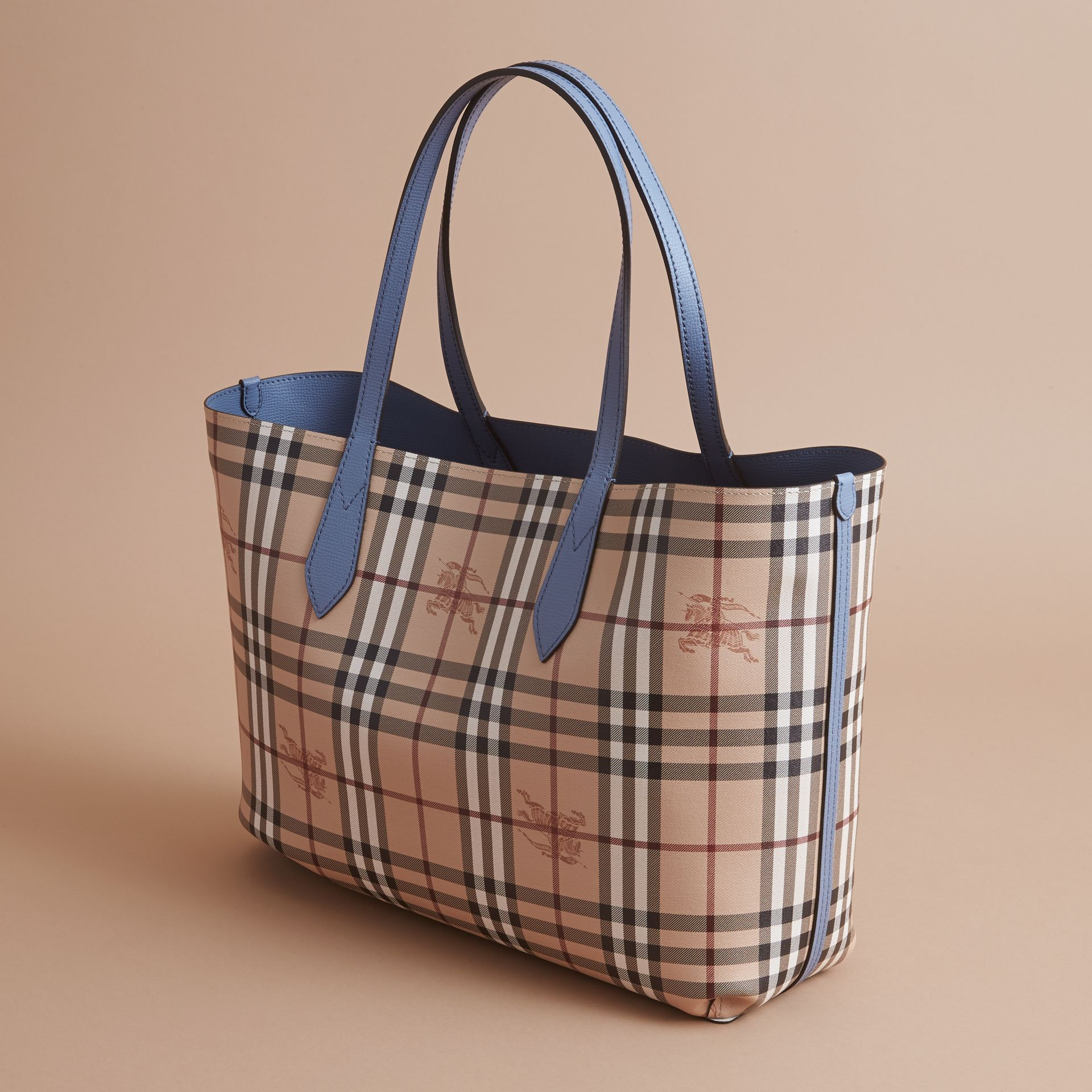 The Medium Reversible Tote in Haymarket Check and Leather Slate Blue - gallery image 5