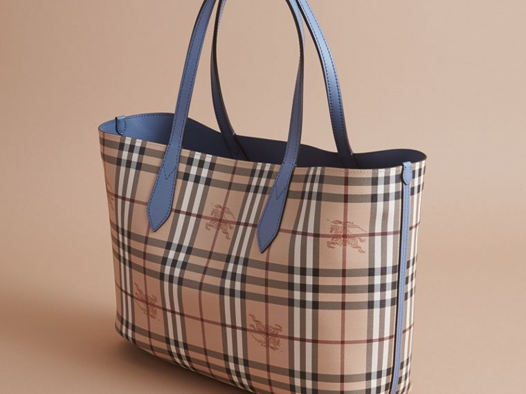 The Medium Reversible Tote in Haymarket Check and Leather Slate Blue - cell image 4