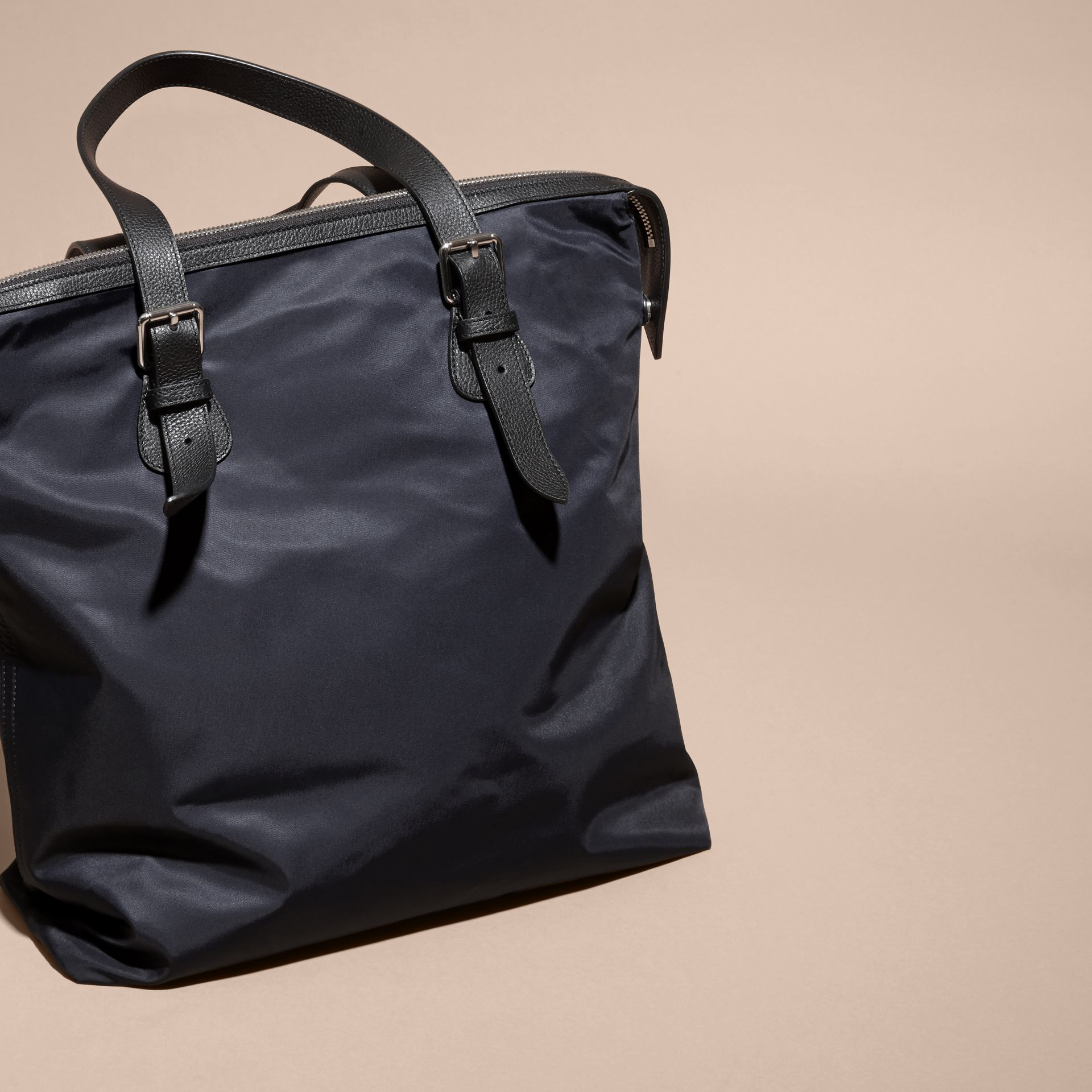 Dark navy Leather Trim Tote Bag Dark Navy - gallery image 4