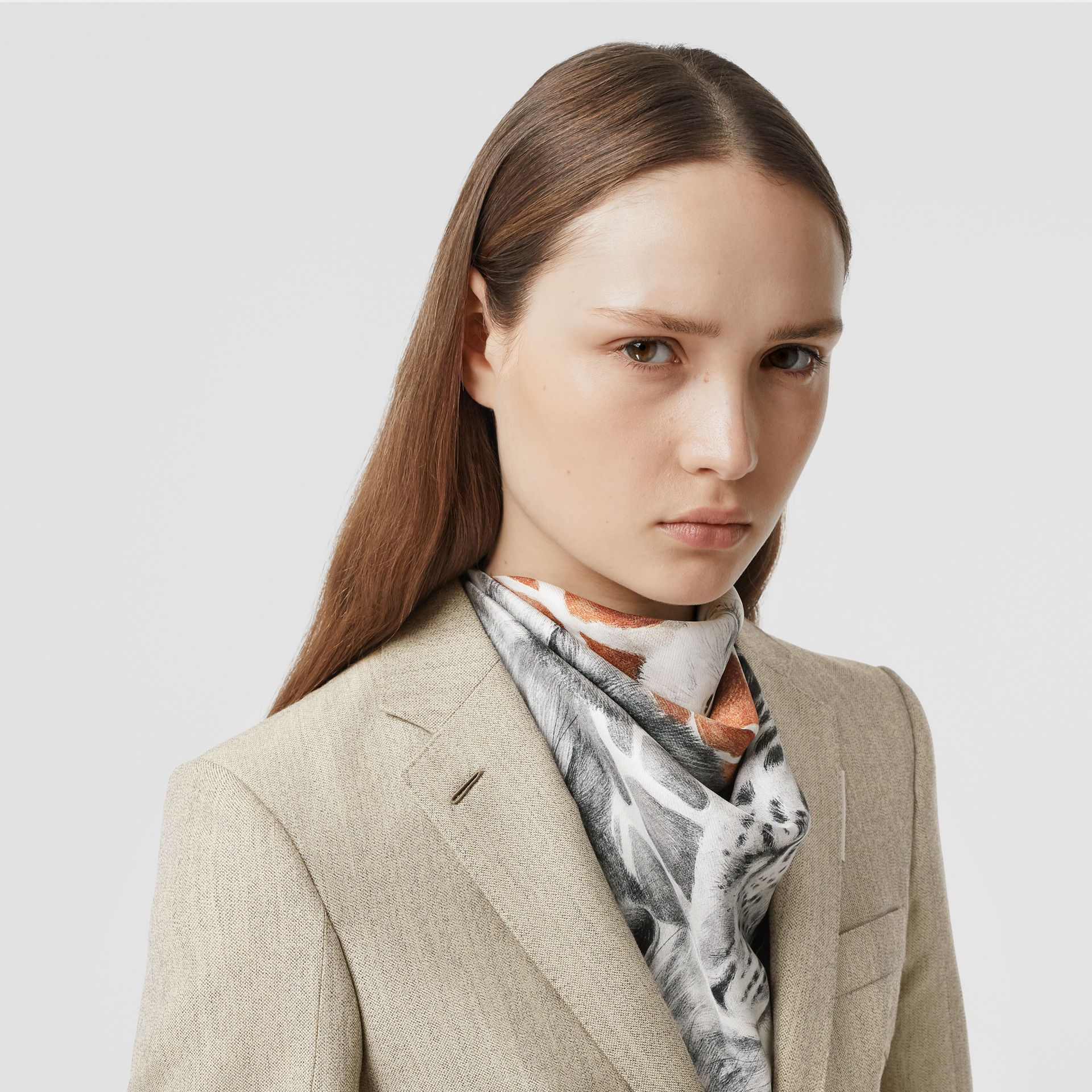 Animalia Print Silk Square Scarf in Copper Brown | Burberry - gallery image 2