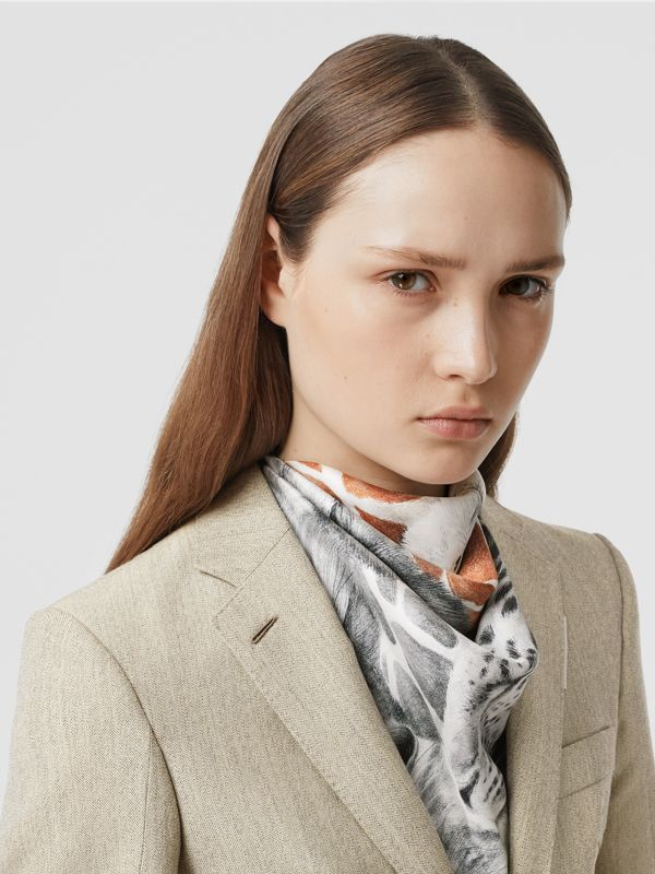 Animalia Print Silk Square Scarf in Copper Brown | Burberry - cell image 2