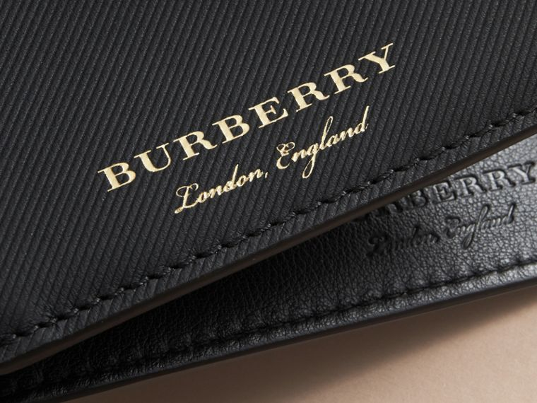 Trench Leather International Bifold Wallet in Black - Men | Burberry Australia - cell image 1