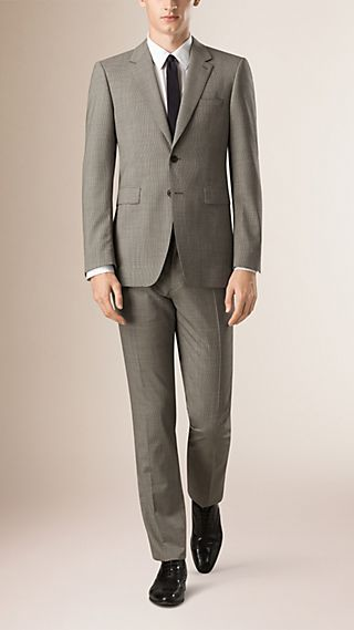 Modern Fit Houndstooth Wool Part-canvas Suit