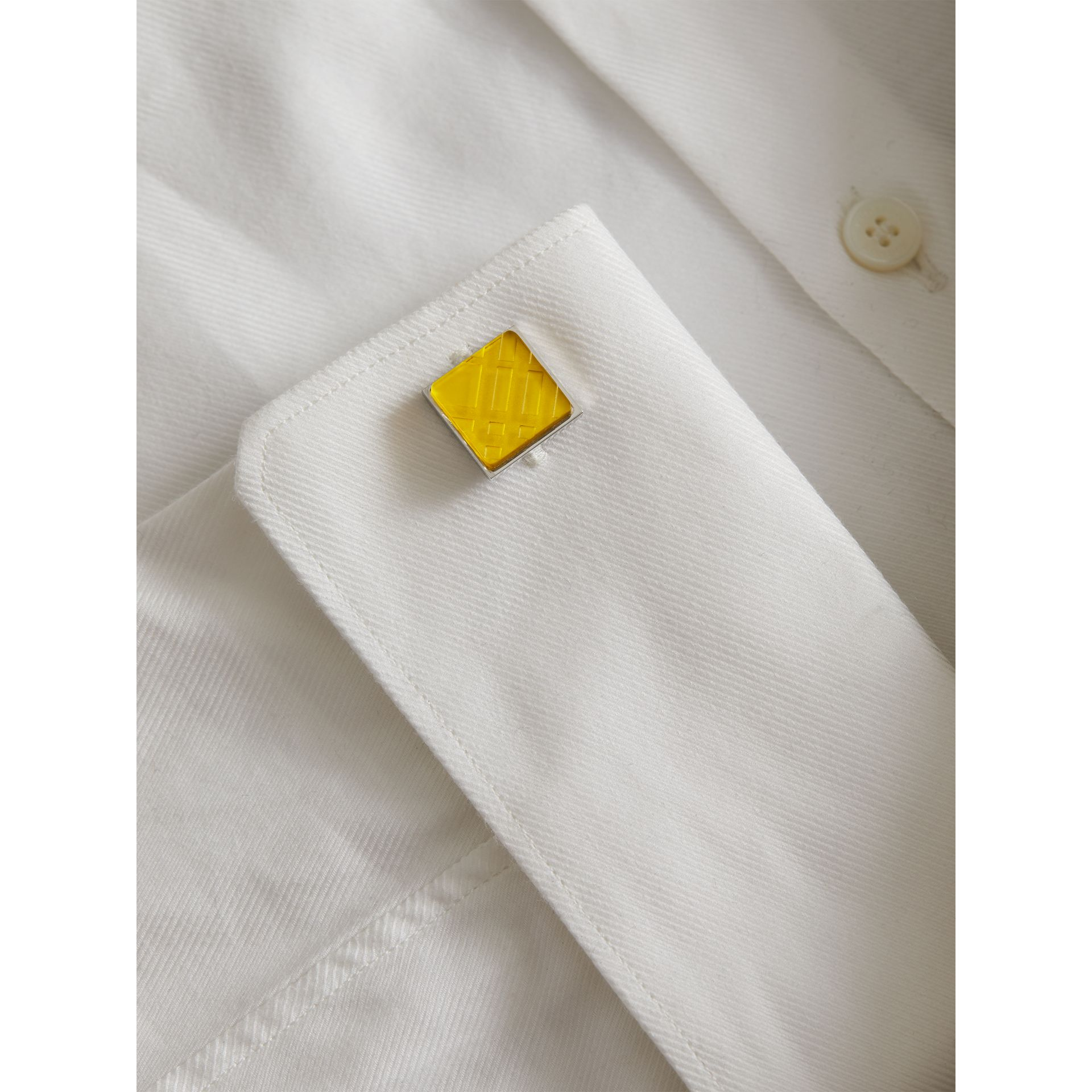 Check-engraved Square Cufflinks in Bright Yellow - Men | Burberry Singapore - gallery image 2