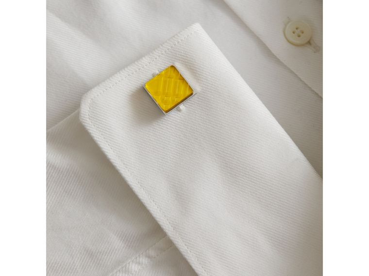 Check-engraved Square Cufflinks in Bright Yellow - Men | Burberry Singapore - cell image 2