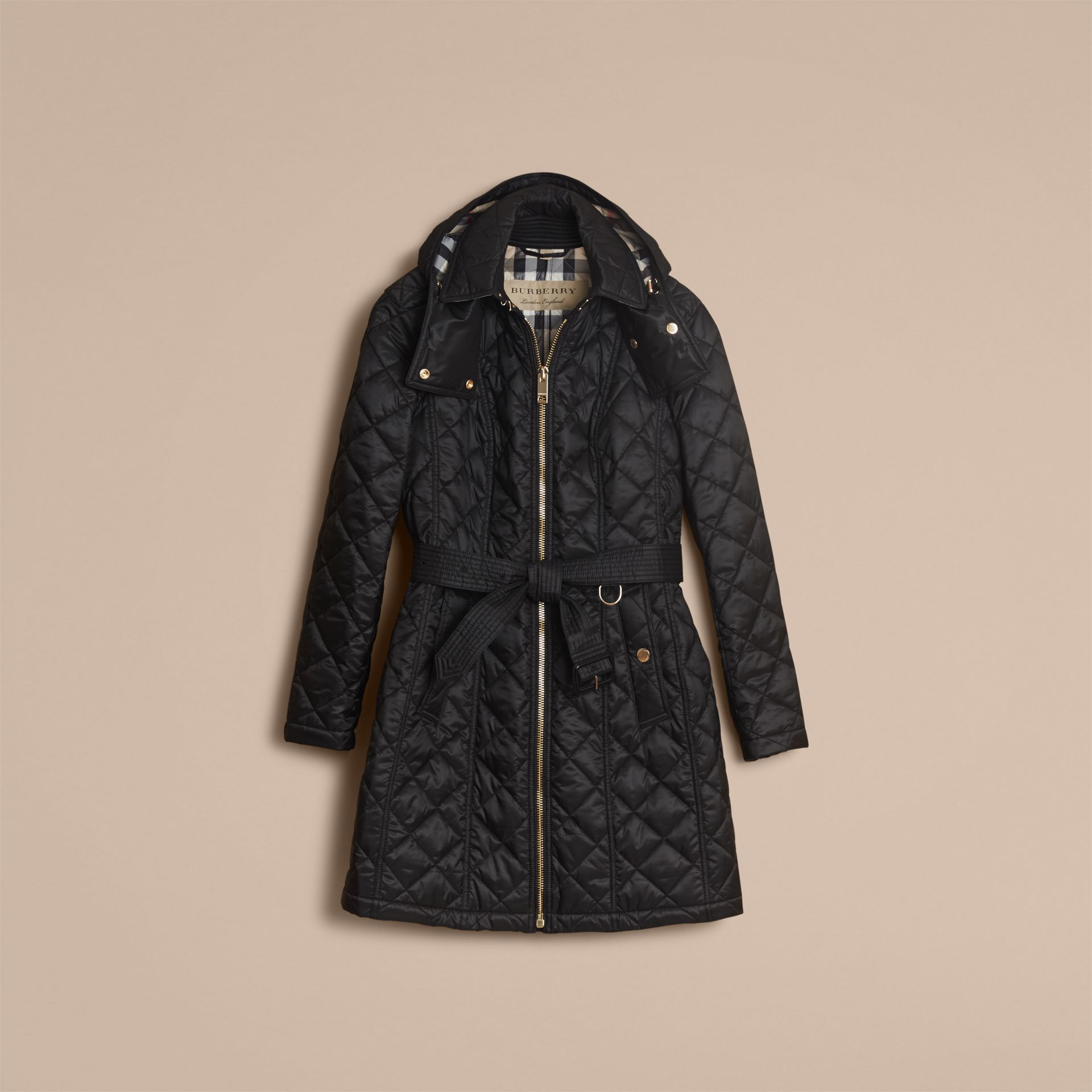 Detachable Hood Quilted Showerproof Parka in Black - Women | Burberry - gallery image 3