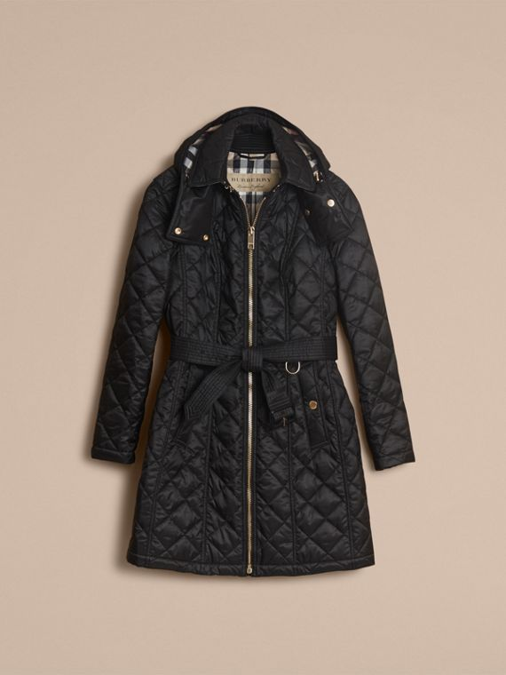 Detachable Hood Quilted Showerproof Parka in Black - Women | Burberry - cell image 3