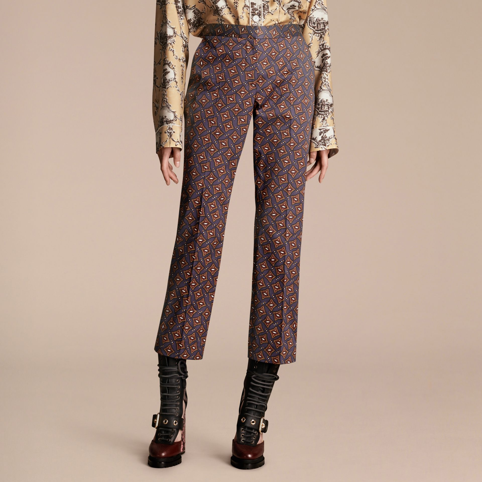 Cropped Scattered Geometric Tile Print Cotton Trousers - gallery image 6