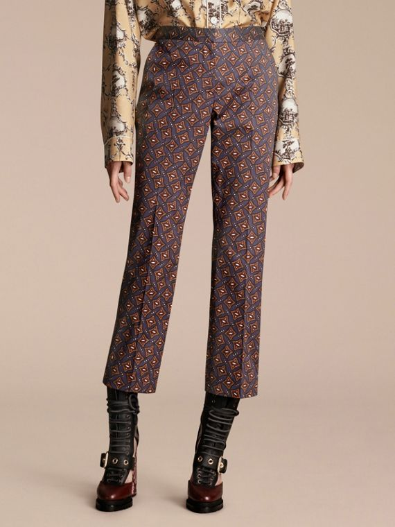 Cropped Scattered Geometric Tile Print Cotton Trousers