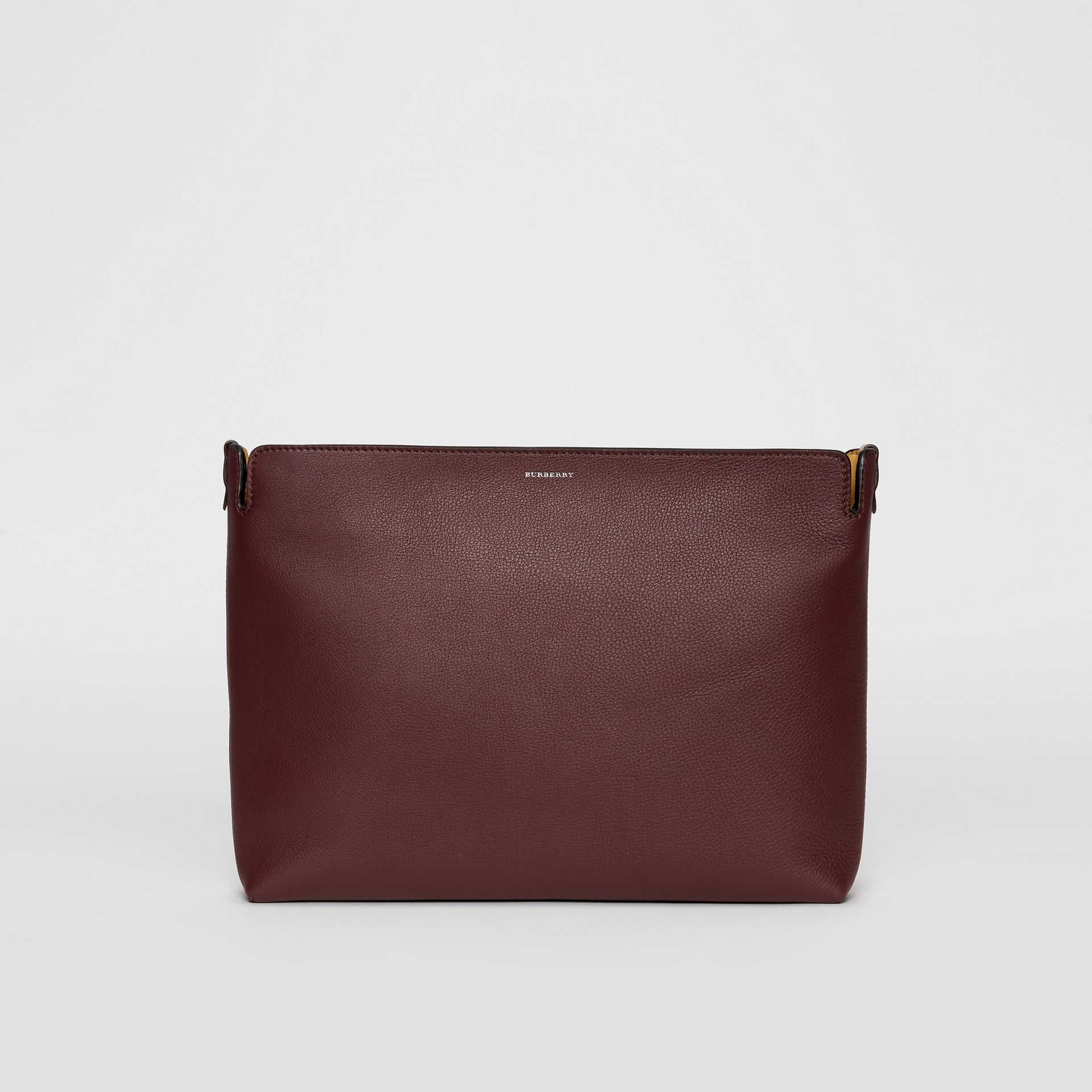 The Large Tri-tone Leather Clutch in Deep Claret/dusty Rose | Burberry - gallery image 0